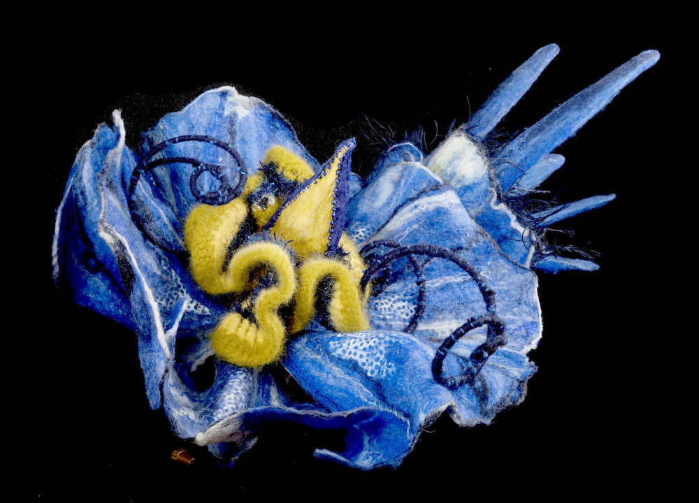 aster ' bluebird of happiness' handmade felt, mixed media 20 x19 x19