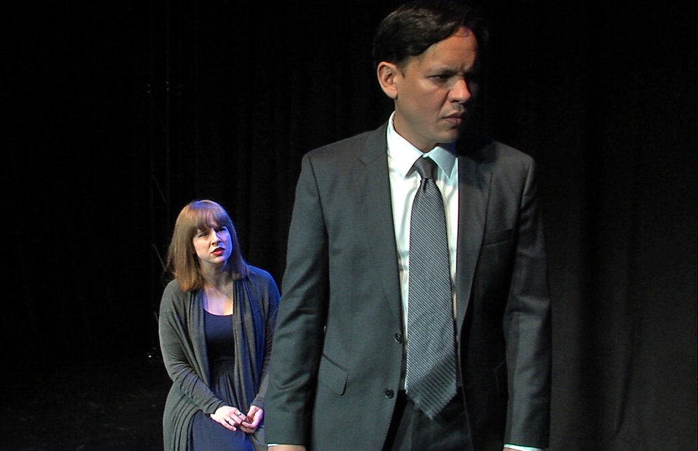 "Amanda Card and Robert Marigza-Yeo doing a scene from Measure for Measure in the online CLE, ""A Comedy of Ethics"""