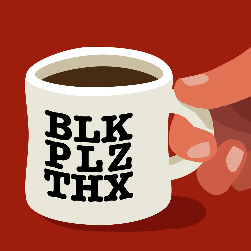 """Coffee?"", ""Black please, thanks."""