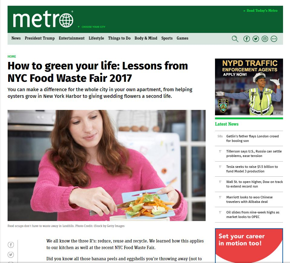 """How to green your life: Lessons from the NYC Food Waste Fair 2017"" Metro NY"