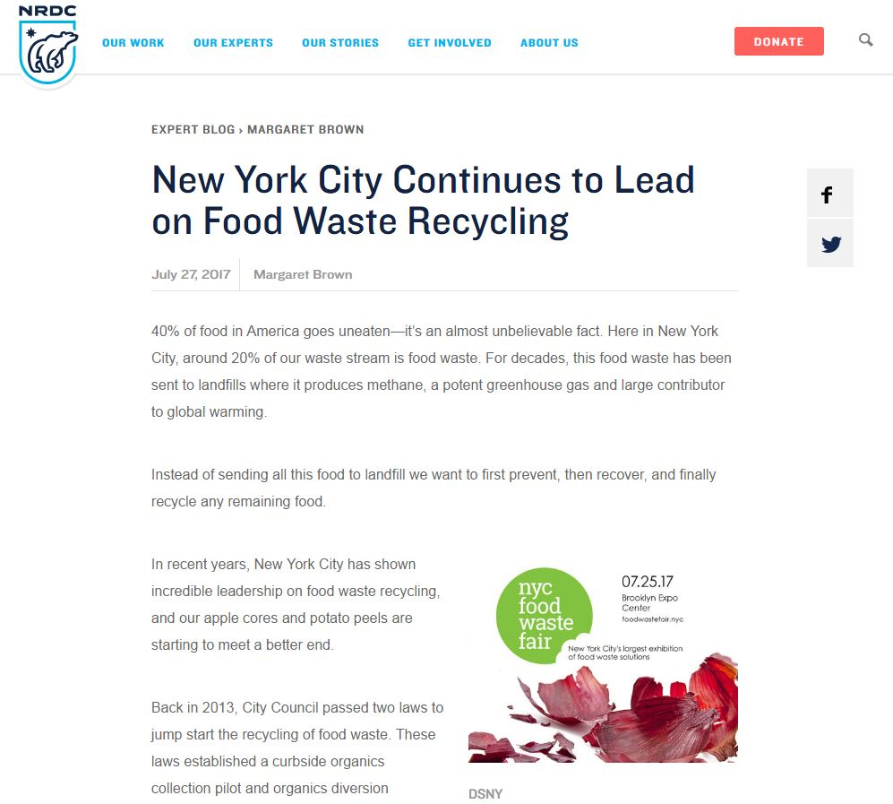 """""""New York Continues to Lead on Food Waste Recycling"""" NRDC"""
