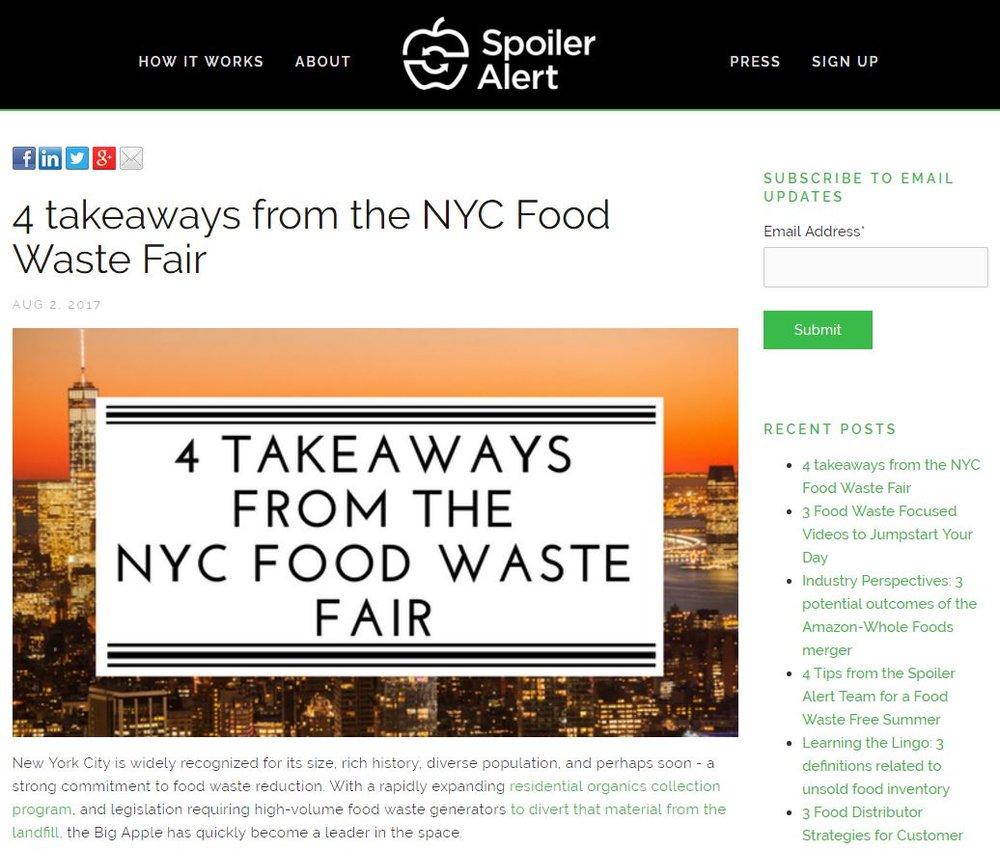 """""""4 Takeaways from the NYC Food Waste Fair"""" Spoiler Alert"""