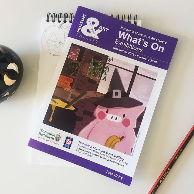 So incredibly excited to see Little Piggy in Nuneaton Museum & Art Gallery's most recent 'What's On' 🐷  Little Piggy on his yummy adventures will be available to visit 19th January- 24th March!  #illustration #illustrationhowl #illustrationdaily #kidlitart #childrensbookillustration #nuneaton #nuneatonmuseumandgallery #westmidlandsartists #instaart #artistofig #illustrationexhibition #littlepiggy #foodart #illustchu #halloweenart