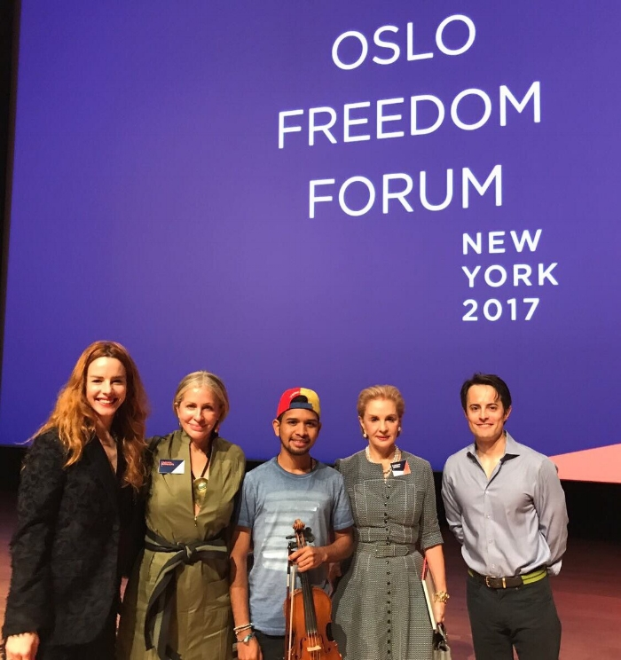 Carmen Busquets , Wuilly Arteaga, Carolina Herrera, Thor Halvorssen. Nueva York Sep 19, 2017
