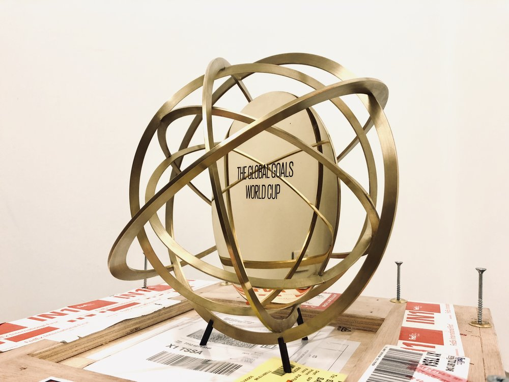 The Global Goals World Cup trophy designed by Olafur Eliasson.