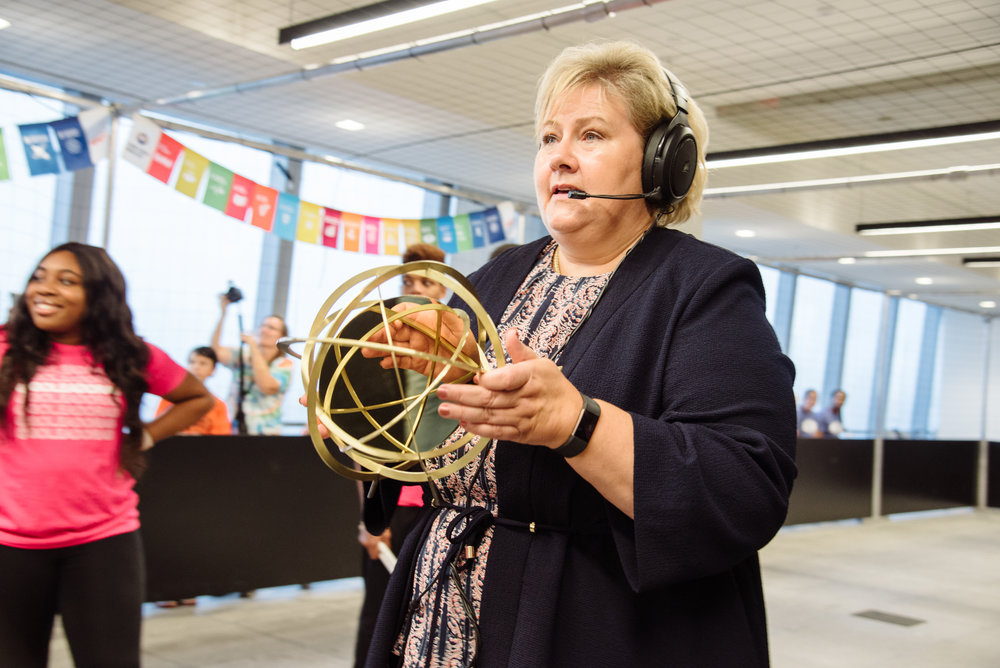 Prime Minister of Norway Erna Solberg handing us the GGWCUP trophy
