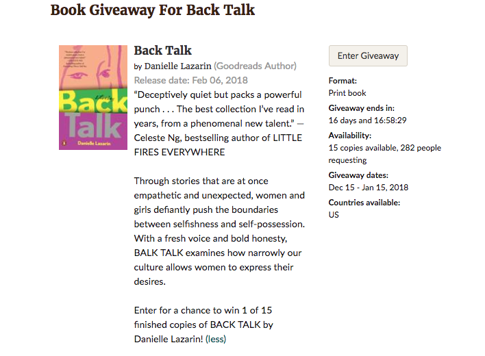 Goodreads Giveaway — Danielle Lazarin