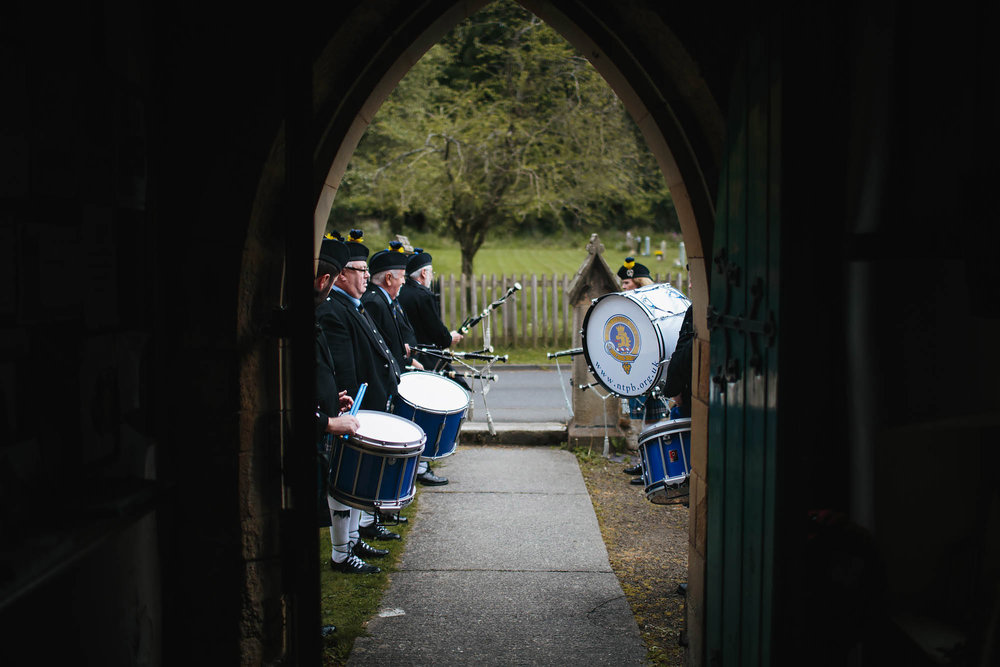 Leeds Yorkshire Wedding Photographer Pipe Band Drum Bagpipes