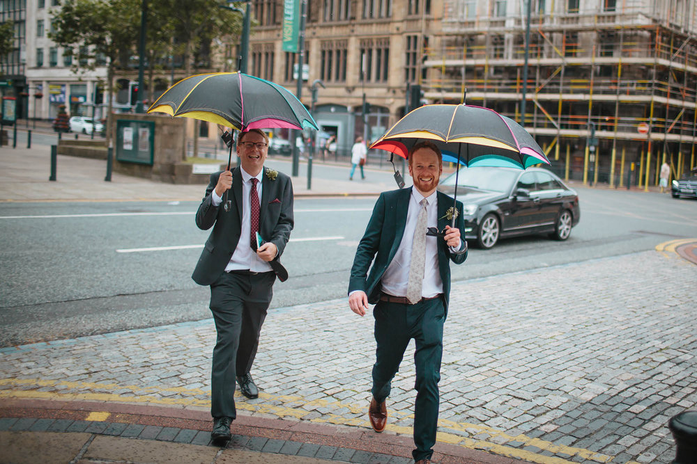 Leeds Yorkshire Wedding Photographer Umbrella Groom Best Man