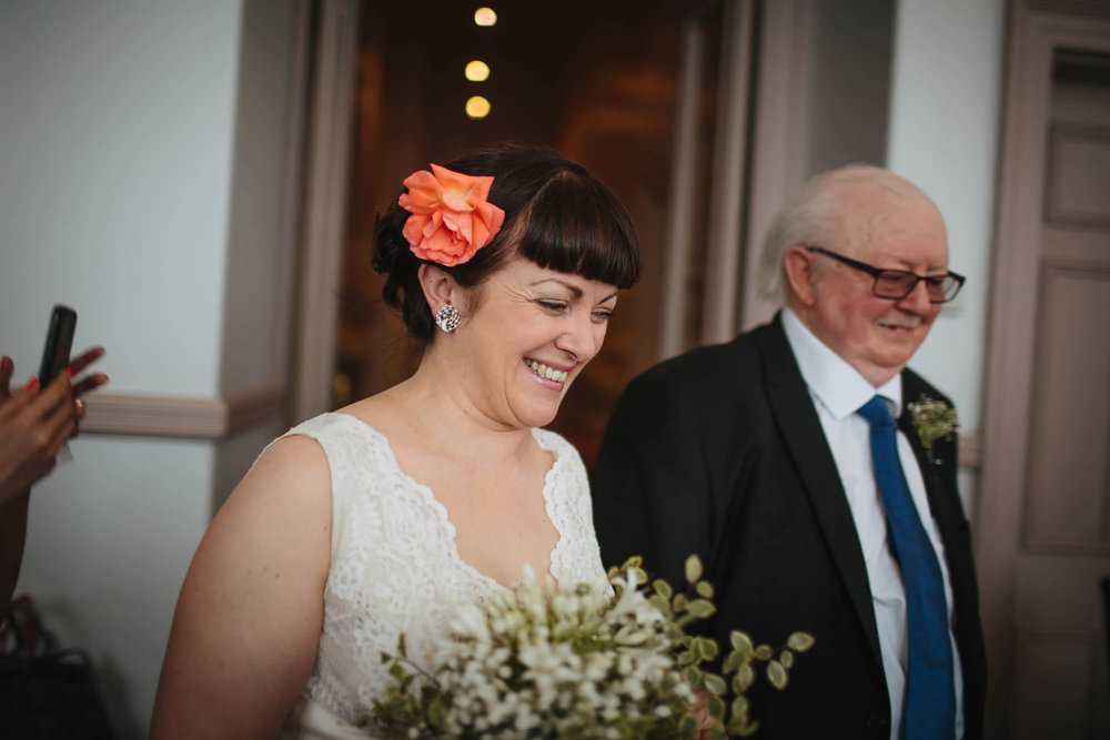 Leeds Yorkshire Wedding Photographer Bride Father Flowers