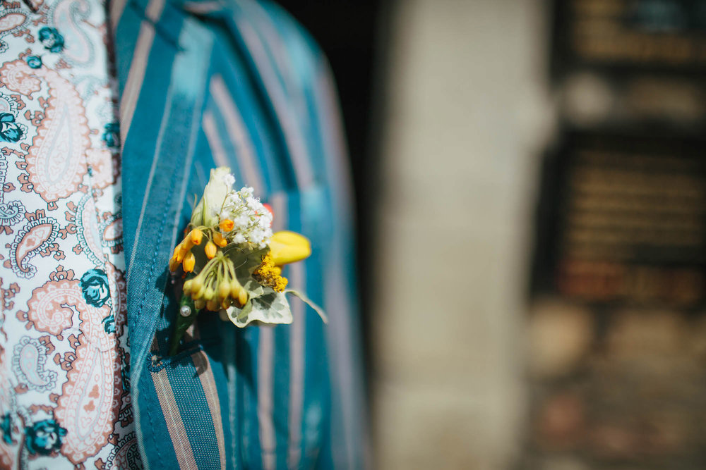 Leeds Yorkshire Wedding Photographer Buttonhole Jacket Colourful