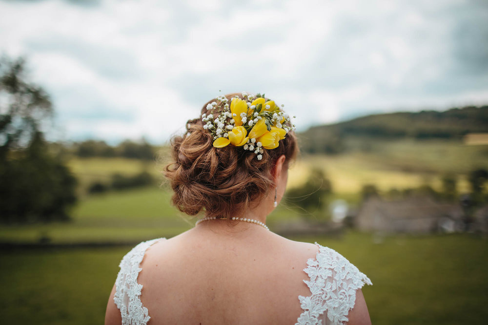 Bride and hair flowers in the Yorkshire Dales Appletreewick