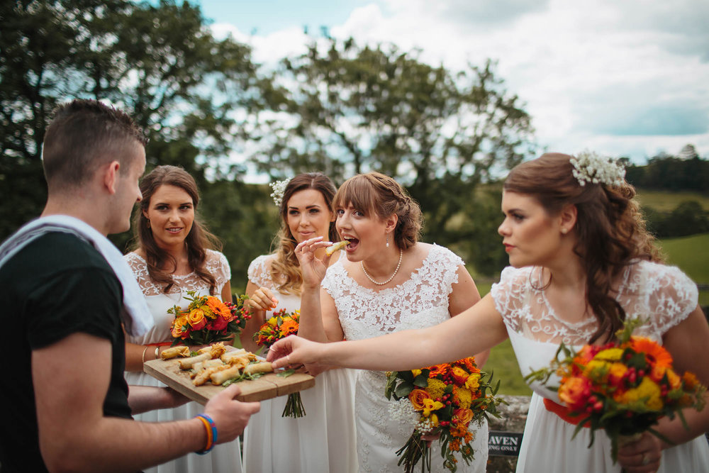 Leeds Yorkshire Wedding Photographer Appetisers Food Bride Bridemaids
