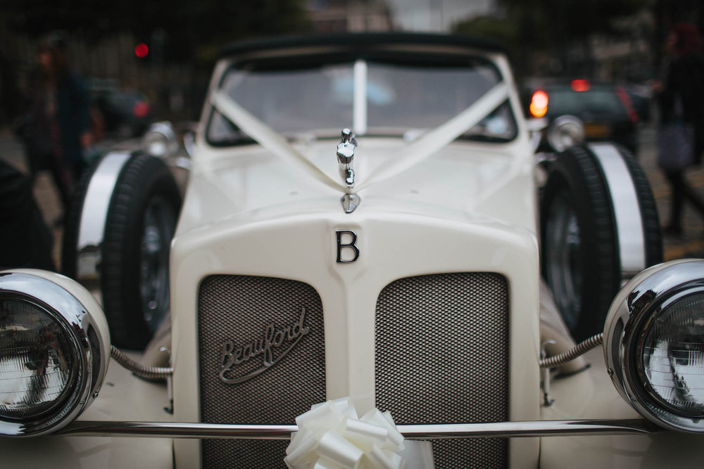 Wedding car at Leeds Town Hall