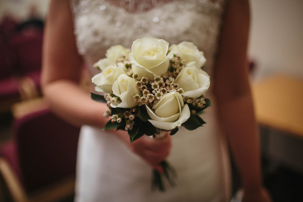 Leeds Yorkshire Wedding Photographer Flowers Bride Town Hall