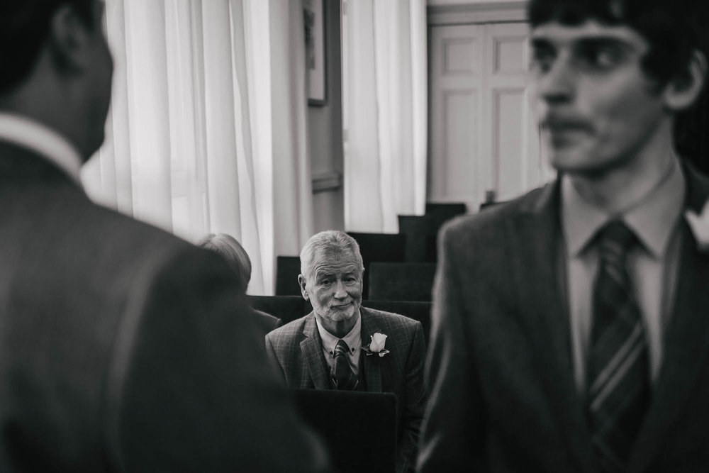 Grooms father at a wedding in Leeds Town Hall