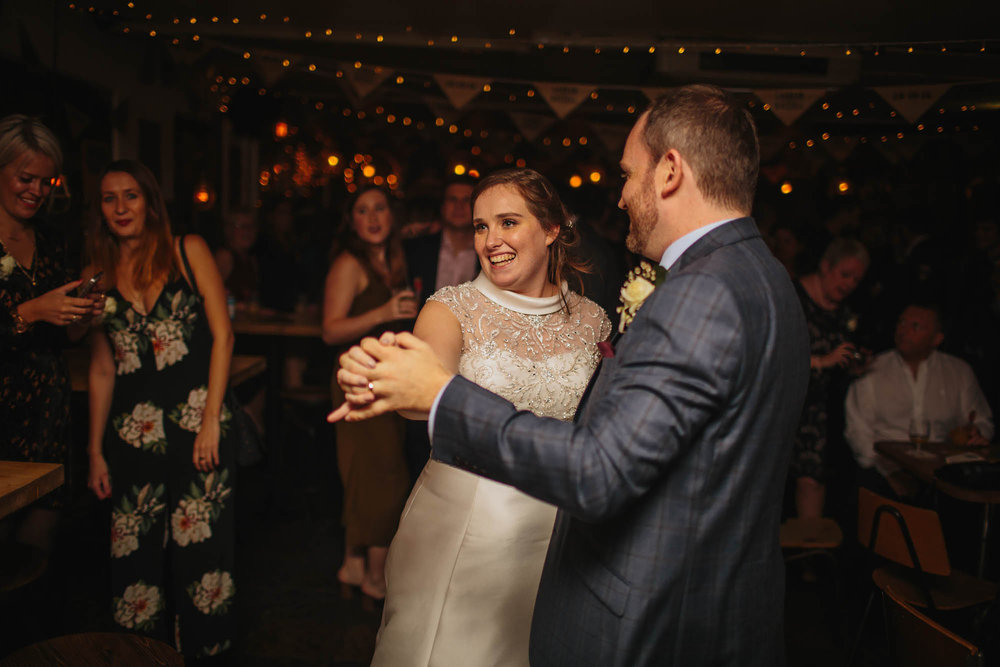 Bride and groom dance at their wedding in Leeds Yorkshire