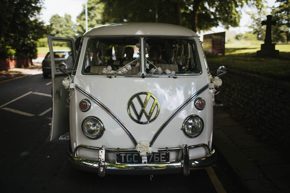 VW camper van brings the bride to her wedding