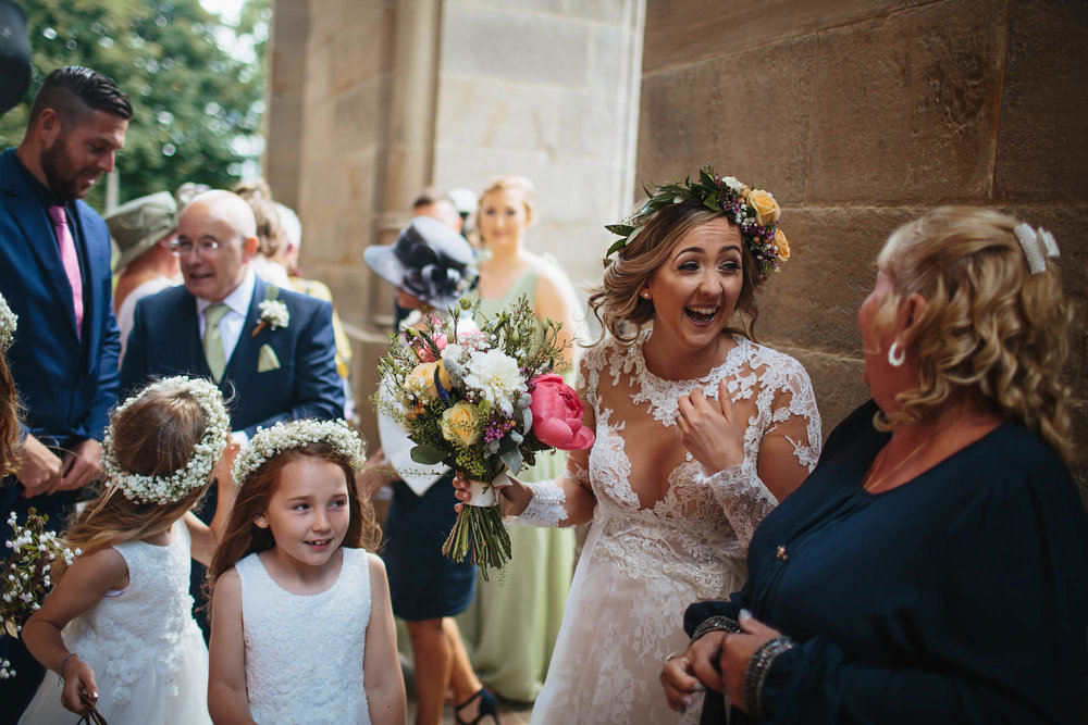 Leeds Yorkshire Wedding Photographer Flower Girl Bride Dress Flowers Happy Married Church