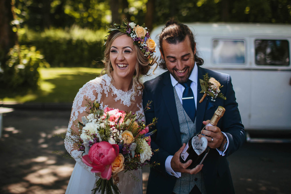 Leeds Yorkshire Wedding Photographer Bride Groom Champagne Flowers