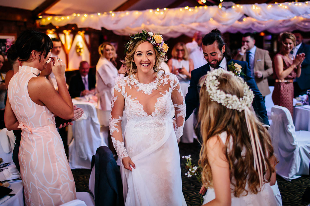 Leeds Yorkshire Wedding Photographer Bride Entrance Love Happy Smile Dress Clapping