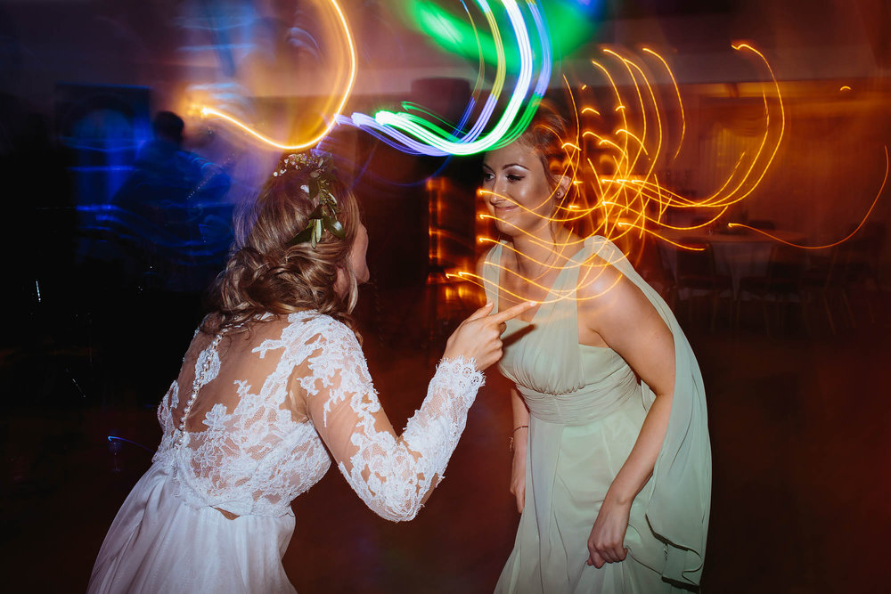 Leeds Yorkshire Wedding Photographer Bride Bridesmaid Dance Long Exposure Flash