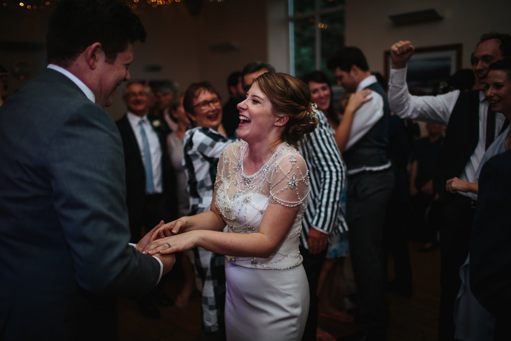 Bride and groom perform a funny first dance at their wedding