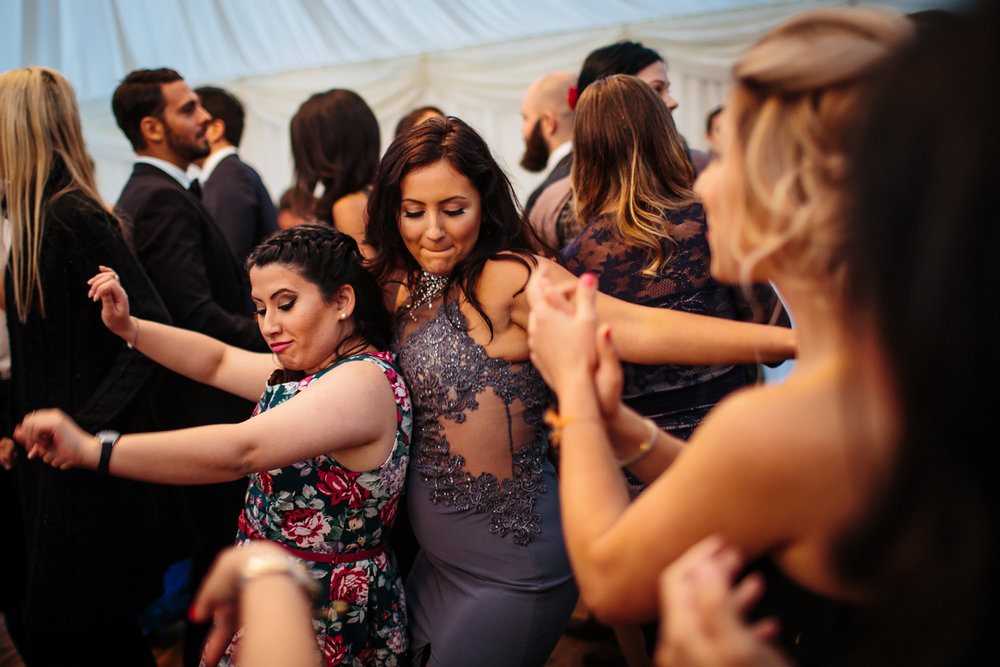 Guests dancing at a wedding in Yorkshire
