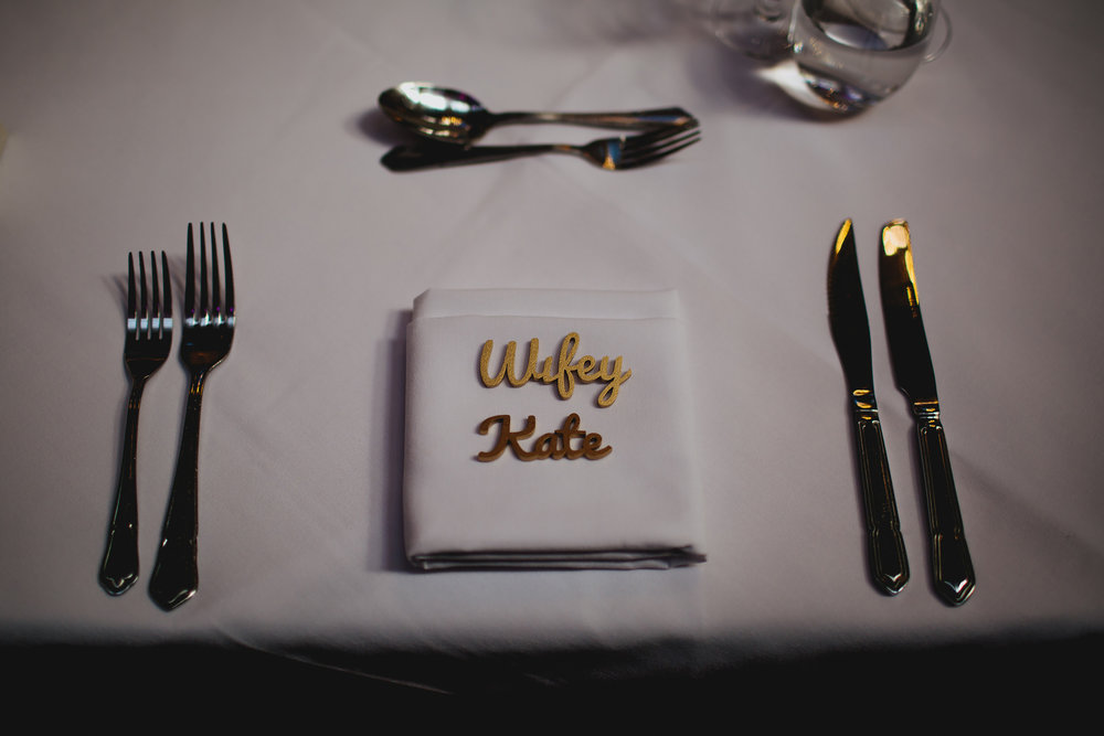 Bride place setting at her wedding