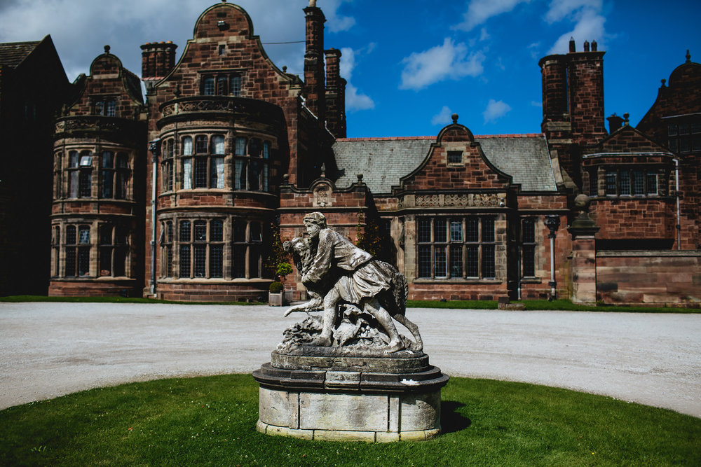 Statue in front of Thornton Manor Cheshire