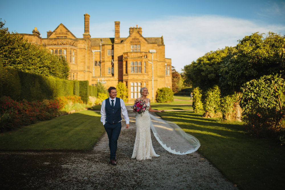 Bride and groom at Thornton Manor Cheshire