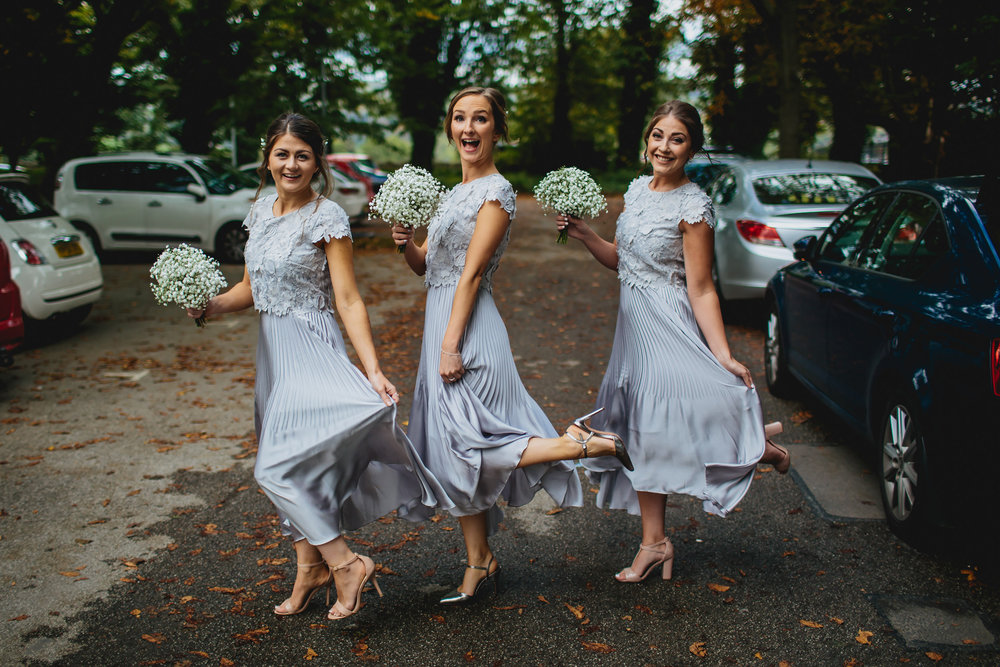 Bridesmaids posing at a Yorkshire wedding