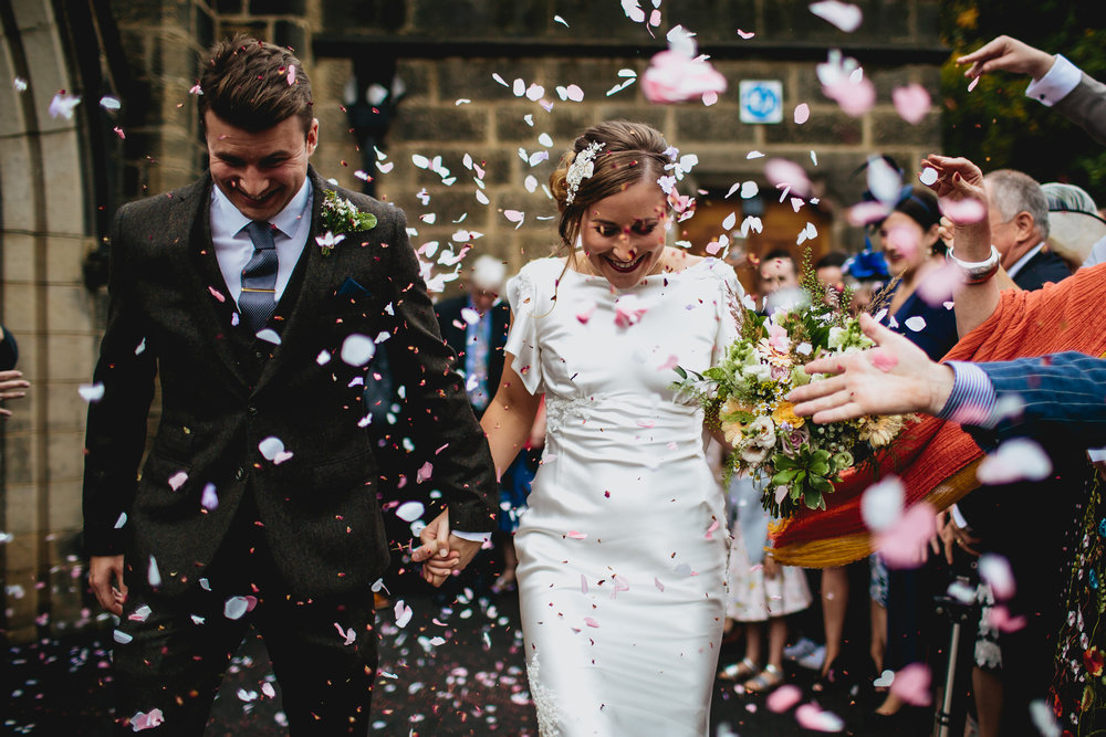 Confetti shot at a Yorkshire wedding