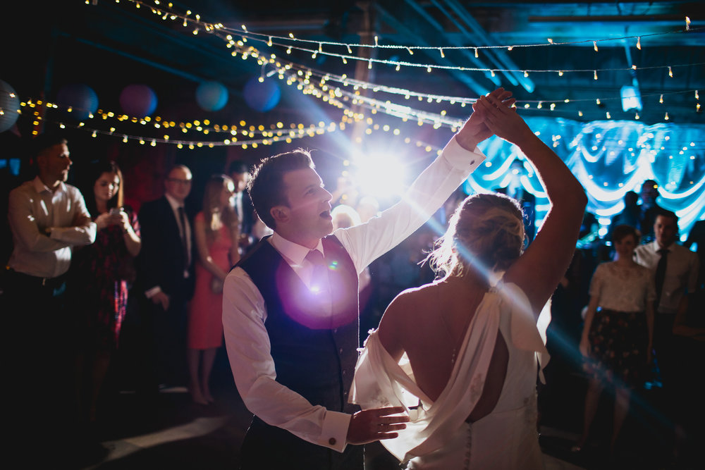 Bride and groom dancing at a wedding