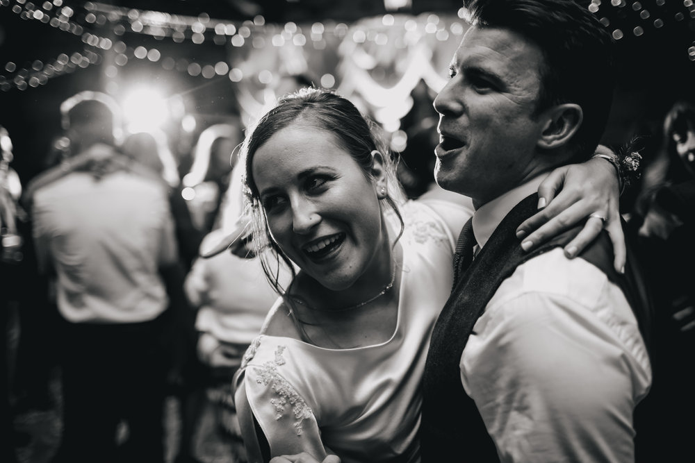 Bride and groom dance at a Sunny Bank Mills wedding
