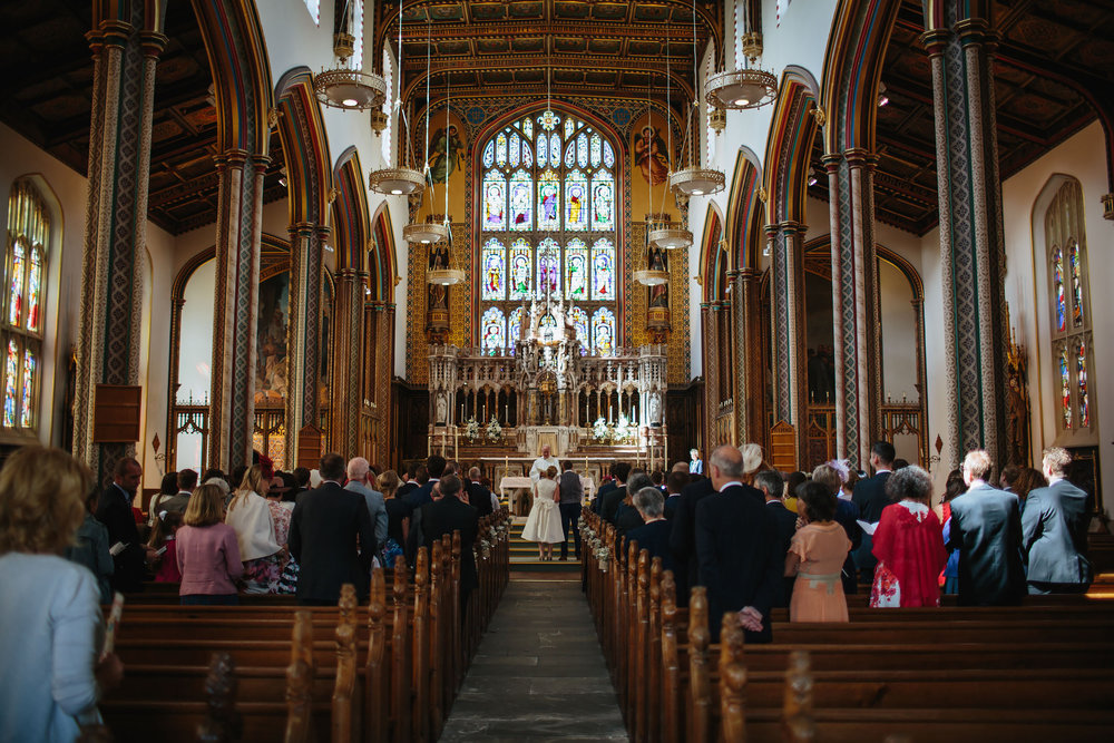 Church wedding ceremony at Stonyhurst College Lancashire