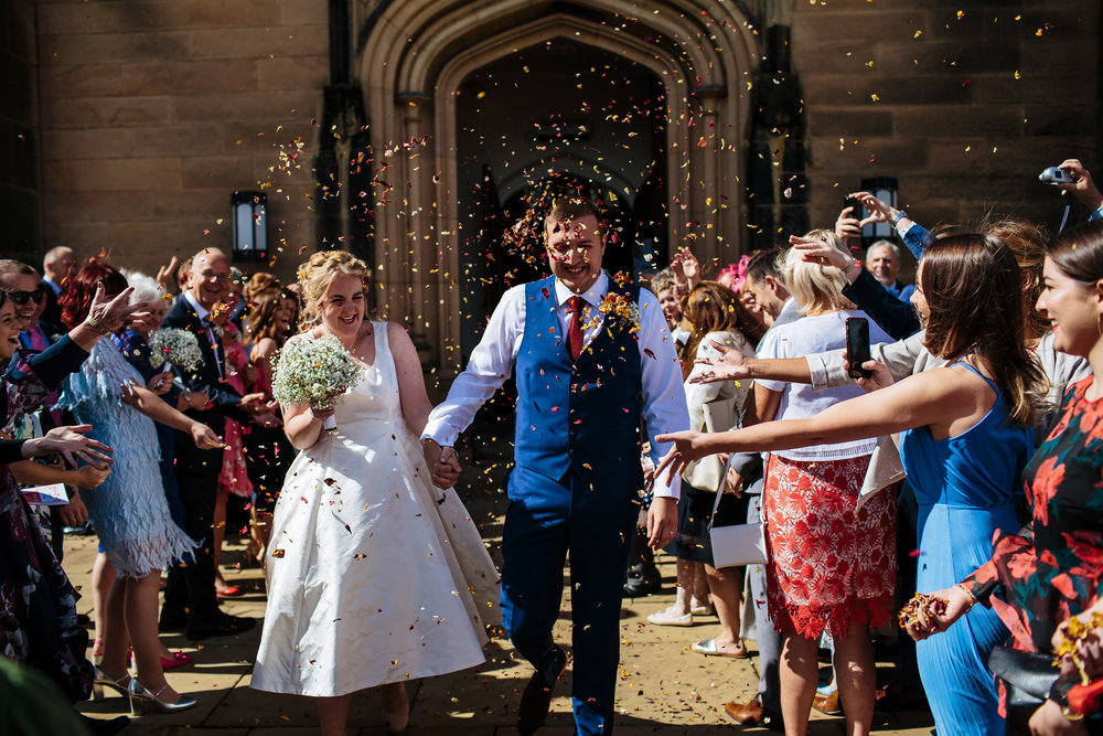 Confetti shot at Stonyhurst College Wedding