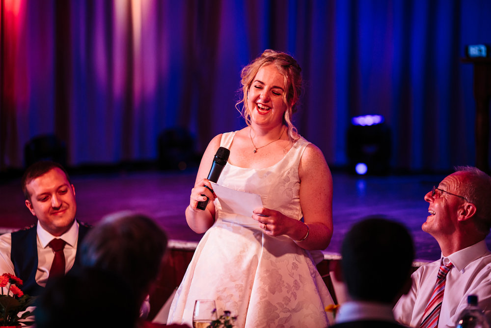 Brides speech on her wedding day in Lancashire