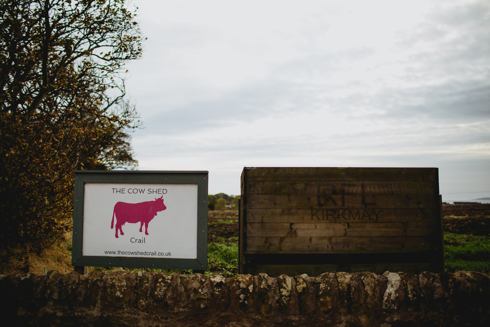Cow Shed Crail Wedding sign