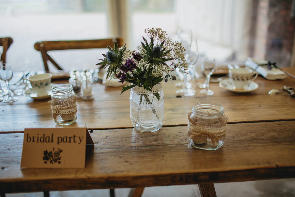Wedding table decorations at Cow Shed Crail