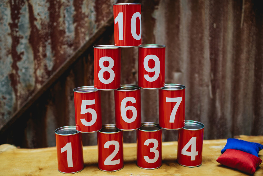 Wedding games with numbered cans in Fife