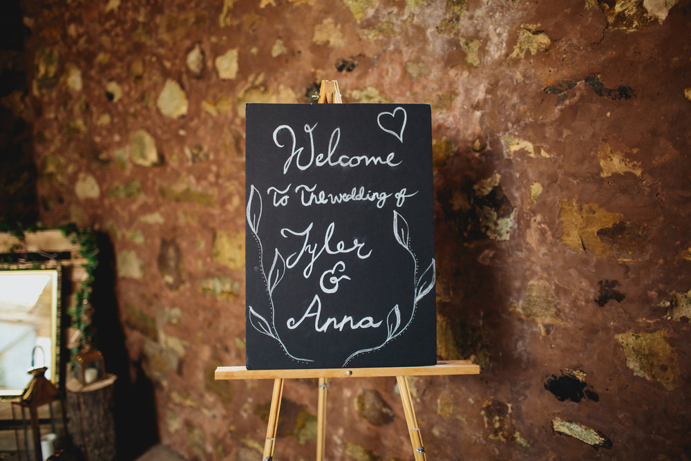 Welcome to the wedding sign at Cow Shed Crail