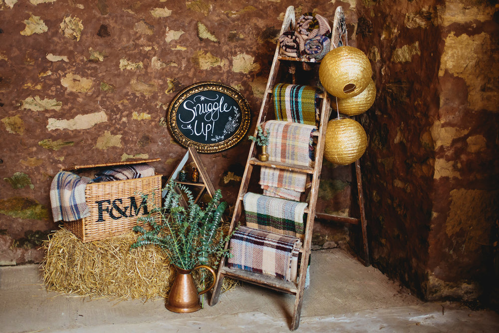 Snuggle up blankets at Cow Shed Crail wedding