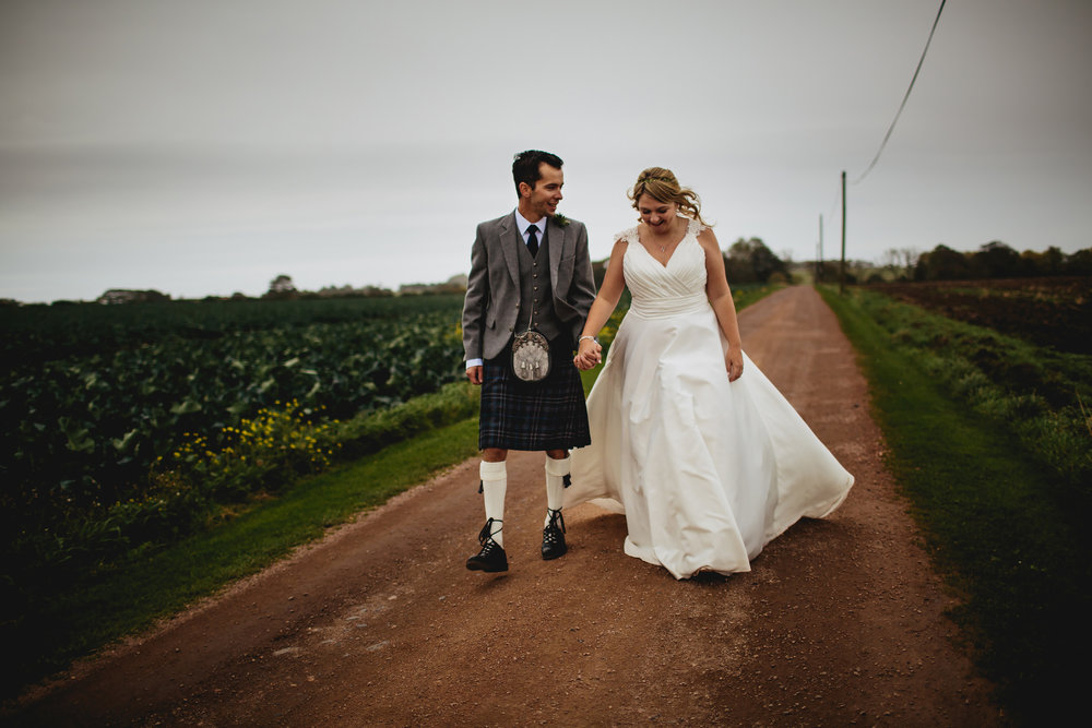 Bride and groom at their wedding in Scotland