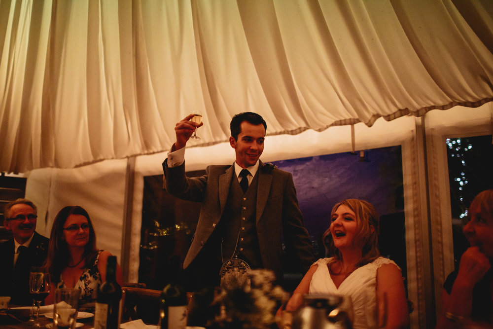 Grooms speech at a wedding in Scotland