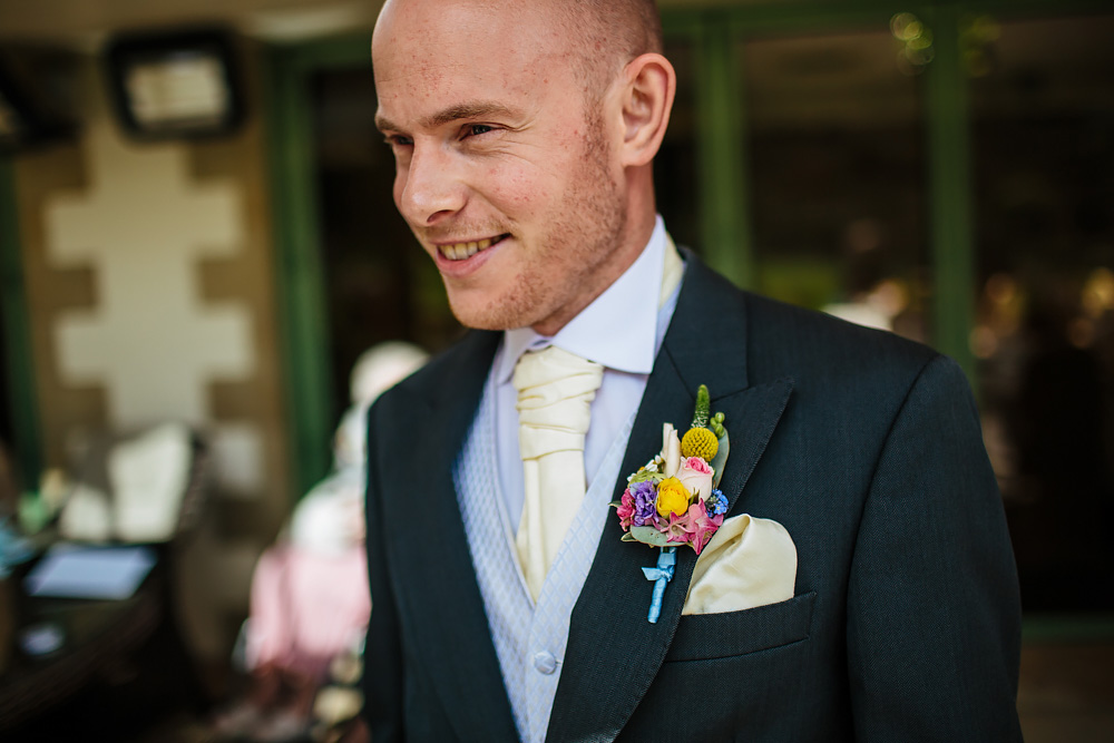 close up portrait of the groom at Gibbon Bridge Hotel Lancashire wedding