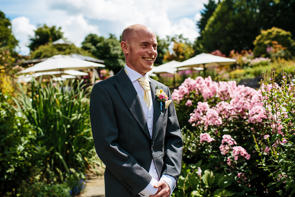Groom portrait at Gibbon Bridge Hotel Lancashire wedding