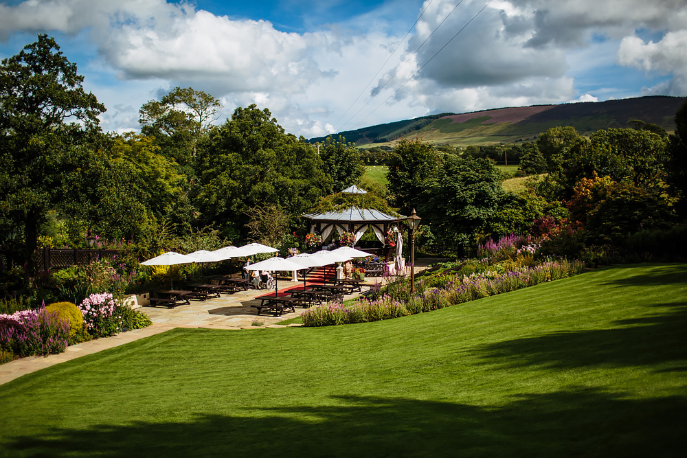 Outdoor area at Gibbon Bridge Hotel Lancashire wedding