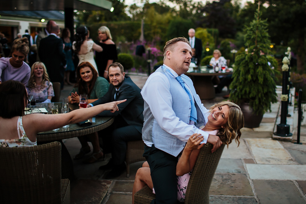 Wedding guests having fun at Gibbon Bridge Hotel Lancashire