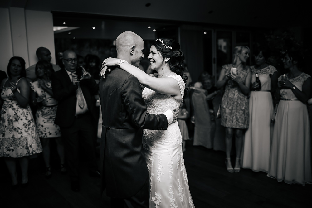 Bride and grooms first dance at a Gibbon Bridge Hotel Lancashire wedding